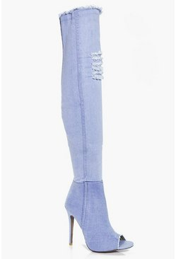 Zoe Ripped Frayed Edge Peeptoe Thigh Boot