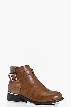 Tia Metallic And Buckle Trim Chelsea Boot