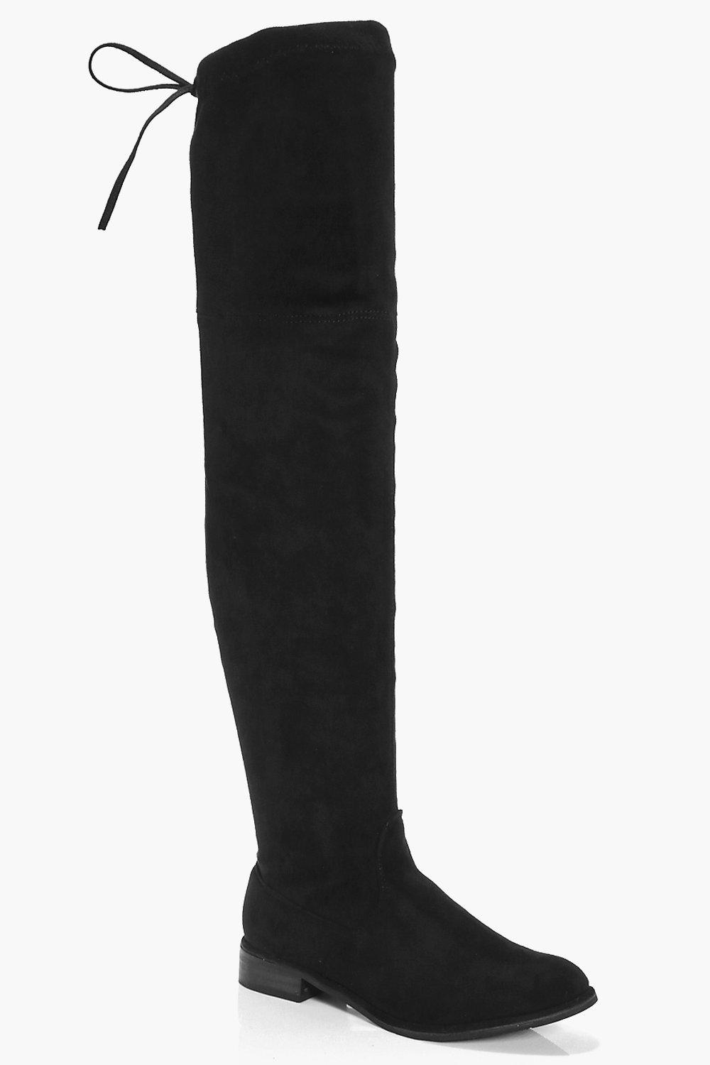 Frances Flat Suedette Thigh High Boot
