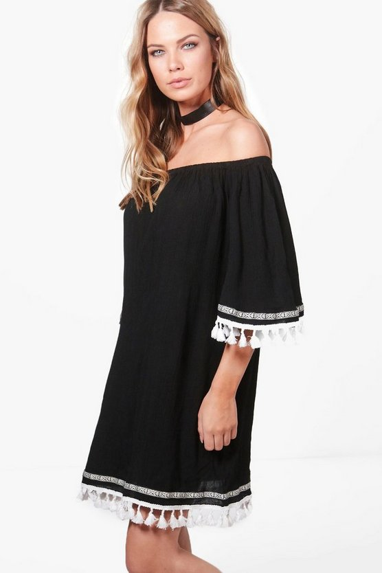 Joslyn Tassel Trim Off Shoulder Dress
