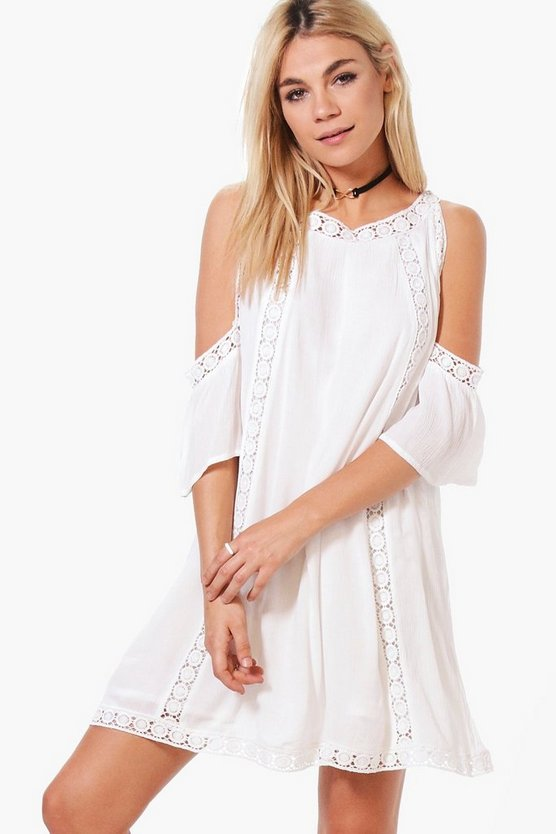Boutique Jelena Crochet Detail Swing Dress