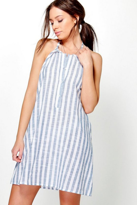 Harley Stripe Frill Tie Front Shift Dress
