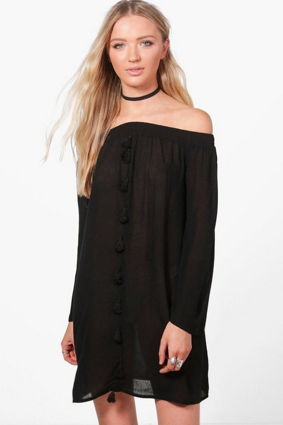 Immie Off Shoulder Tassel Shift Dress