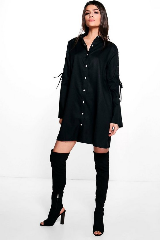 Raelyn Crepe Lace Up Sleeve Shirt Dress