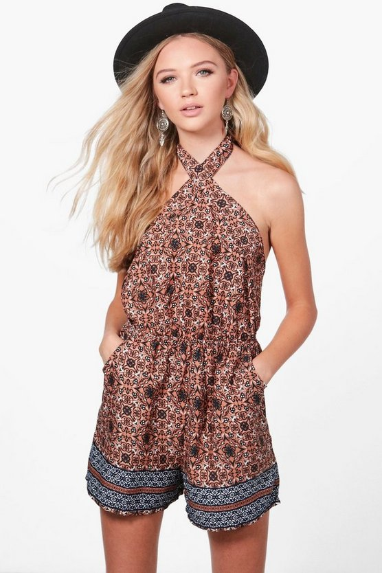 Sarah Halter Neck Border Print Playsuit