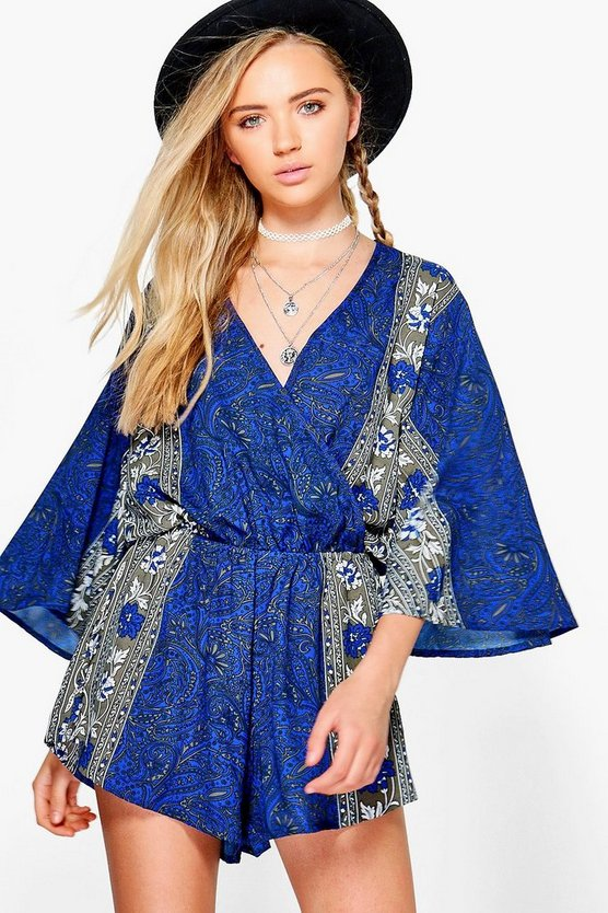 Sophie Printed Wide Sleeve Playsuit
