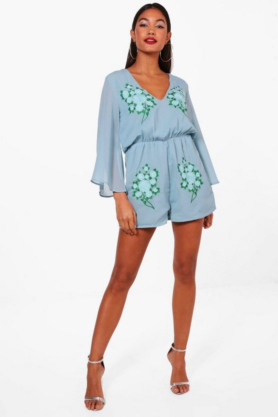 Flare Sleeve Embroidered Playsuit