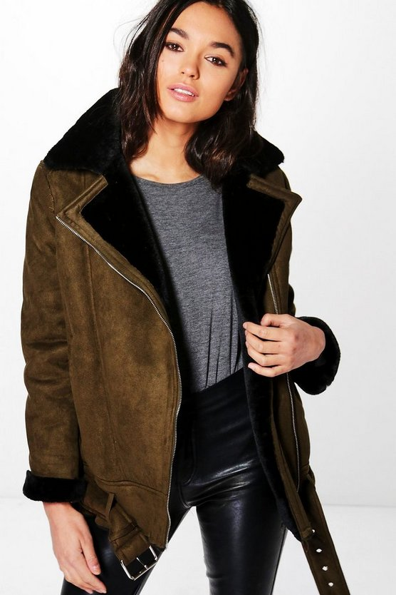 Jessica Faux Fur Collar Longline Aviator Jacket