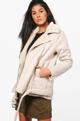 Kimberly Faux Fur Collar Longline Aviator Jacket