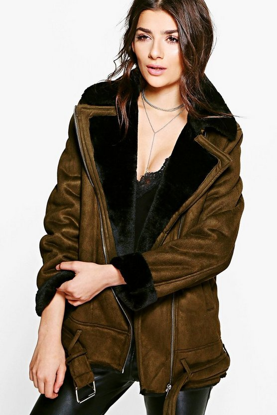 Charlotte Faux Fur Collar Longline Aviator Jacket