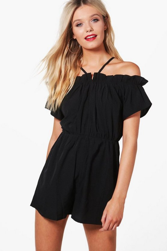 Holly Ruffle Open Shoulder Playsuit