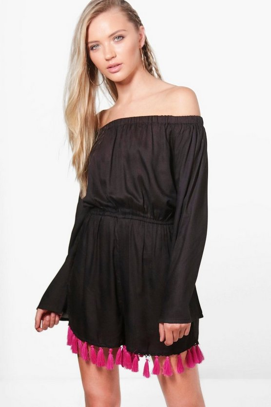 Jodie Tassel Hem Off The Shoulder Playsuit