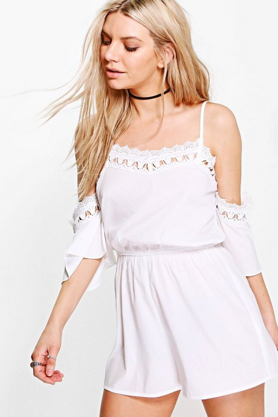 Claire Crochet Trim Open Shoulder Playsuit