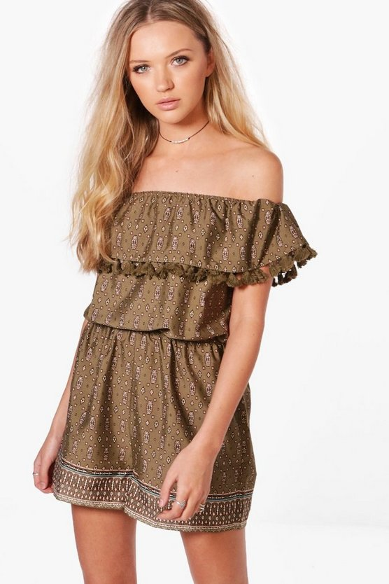 Julie Tassel Trim Printed Playsuit