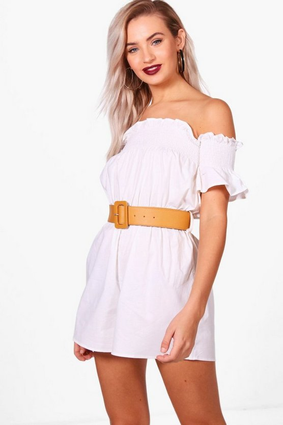 Off The Shoulder Cotton Poplin Playsuit