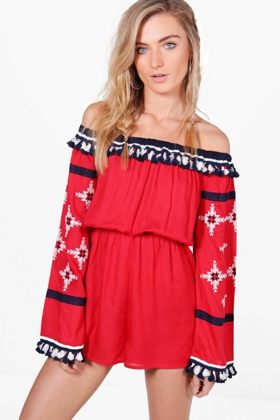 Boutique Laura Embroidered Tassel Playsuit
