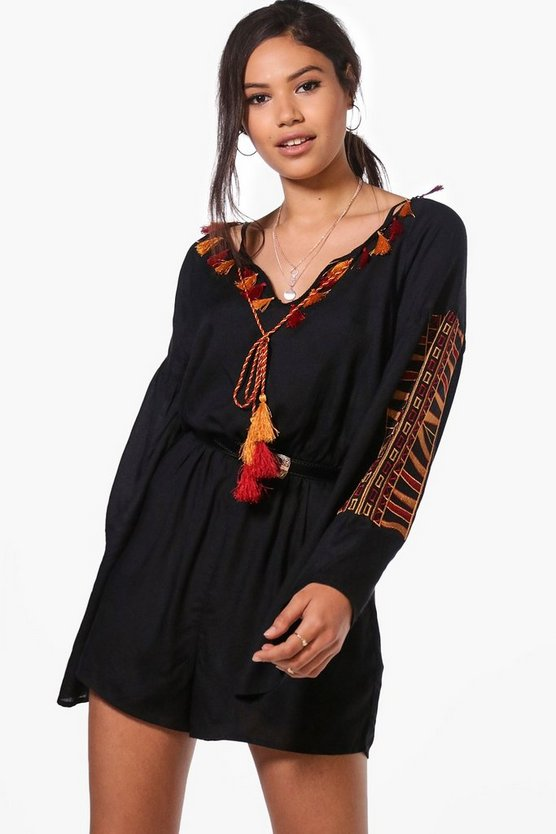 Boutique Sarah Embroidered Tassel Playsuit