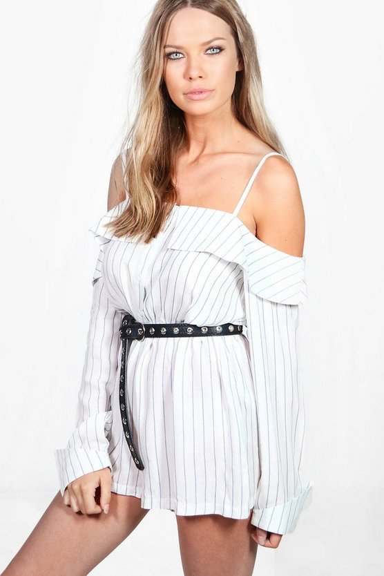 Rosina Off The Shoylder Striped Woven Playsuit
