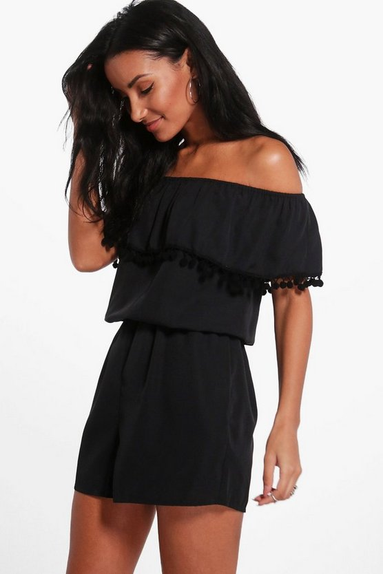 Emily Pom Pom Off Shoulder Playsuit
