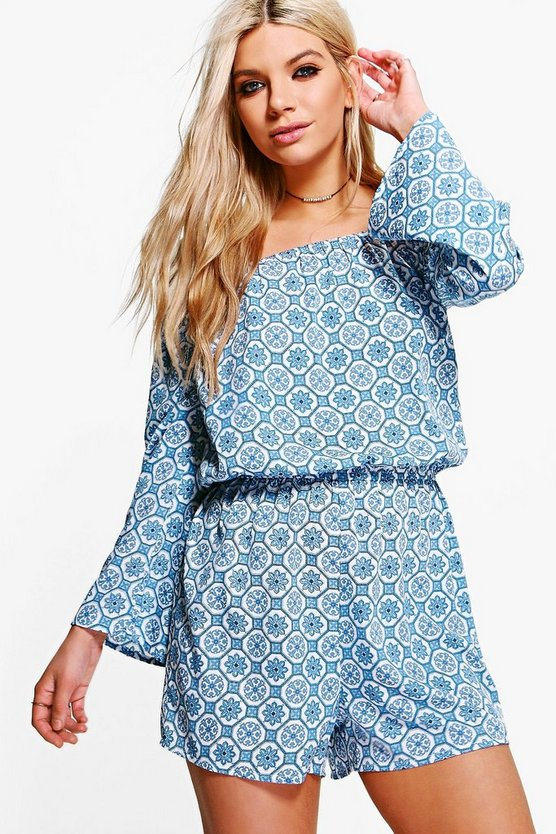 Mia Tile Print Off Shoulder Playsuit