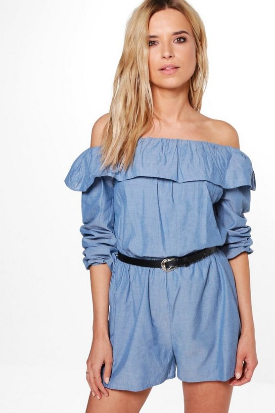 Sarah Ruffle Off The Shoulder Playsuit