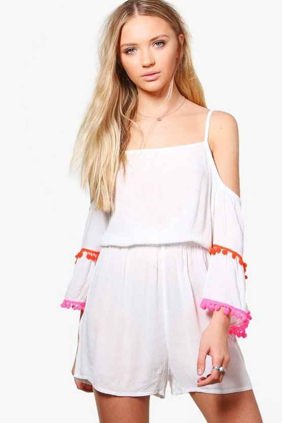 Pom Pom Open Shoulder Playsuit