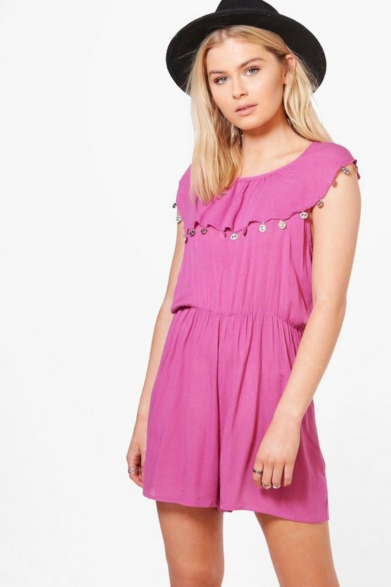Katie Coin Trim Strappy Playsuit