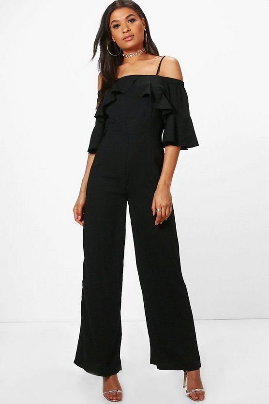 Lea Cold Shoulder Ruffle Sleeve Jumpsuit