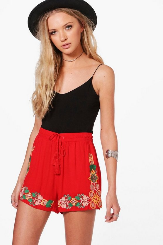 Jenny Embroidered Tassel Tie Shorts
