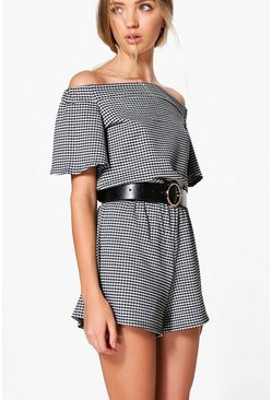 Mia Off The Shoulder Flare Sleeve Gingham Playsuit