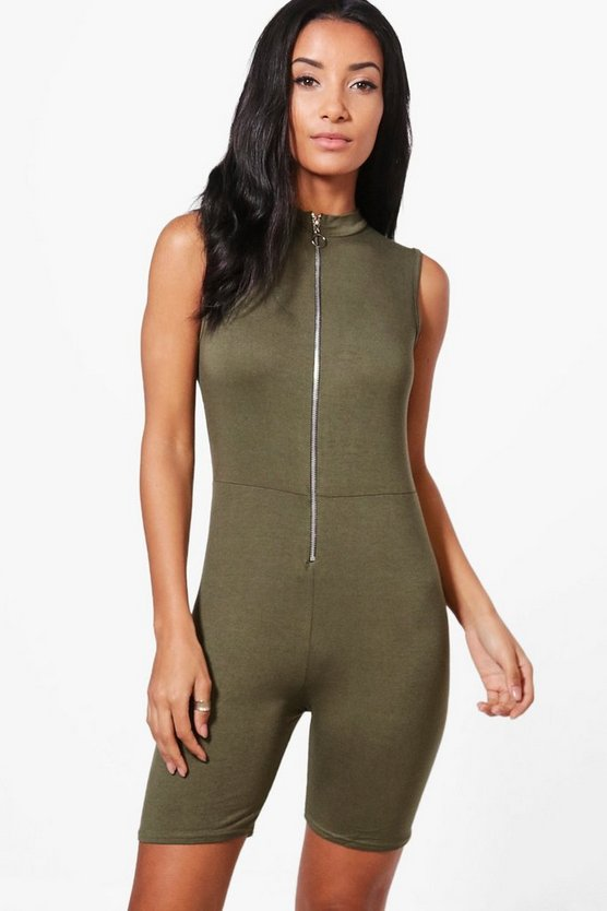 Rebecca High Neck O Ring Zip Unitard