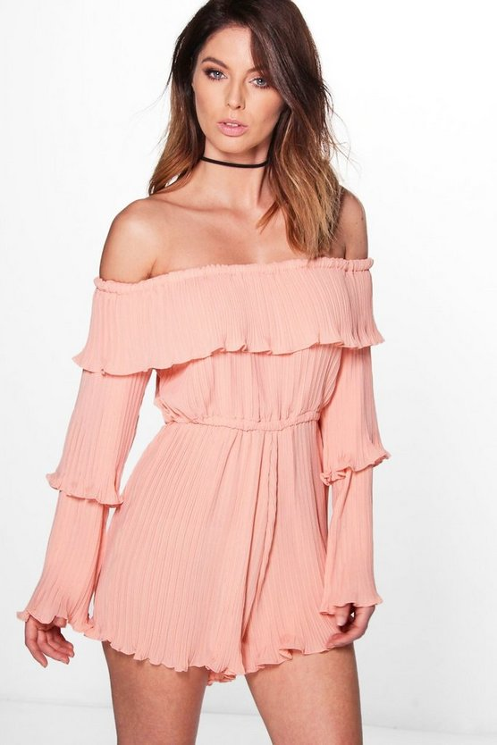 Beth Pleated Ruffle Layered Playsuit