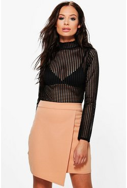 Lottie Wrap Front Asymetric Scuba Mini Skirt