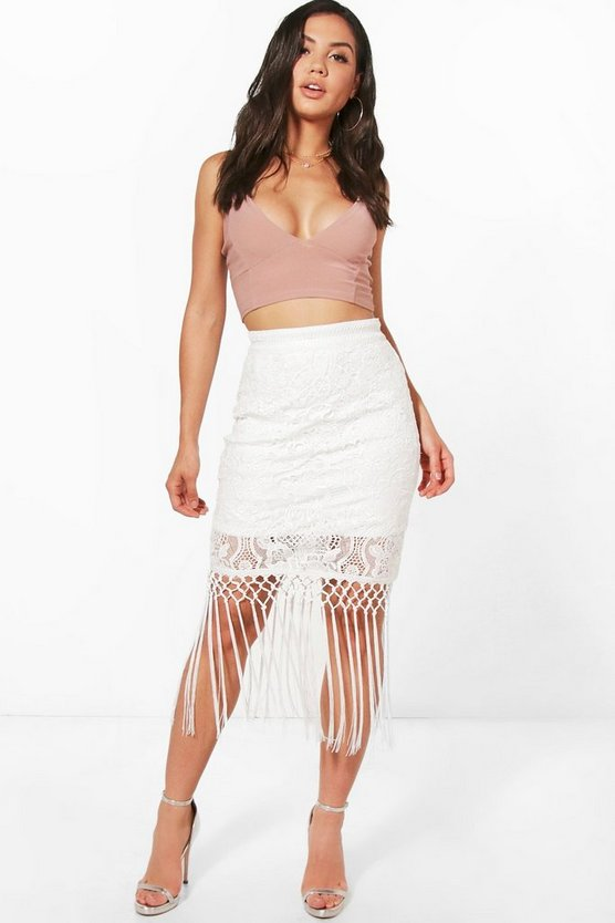 Boutique Reign Crochet Lace Tassle Midi Skirt