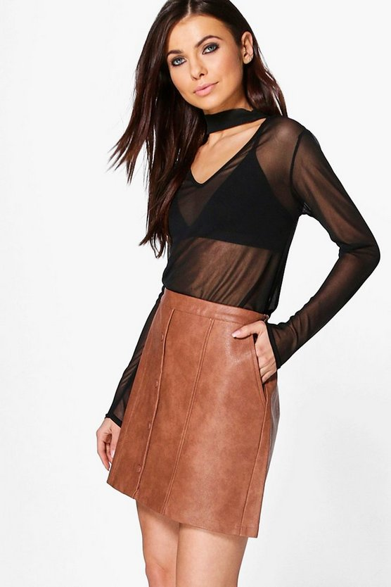 Freya Leather Look Button Front Mini Skirt