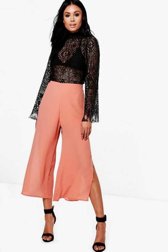 Side Split Chiffon Wide Leg Culottes