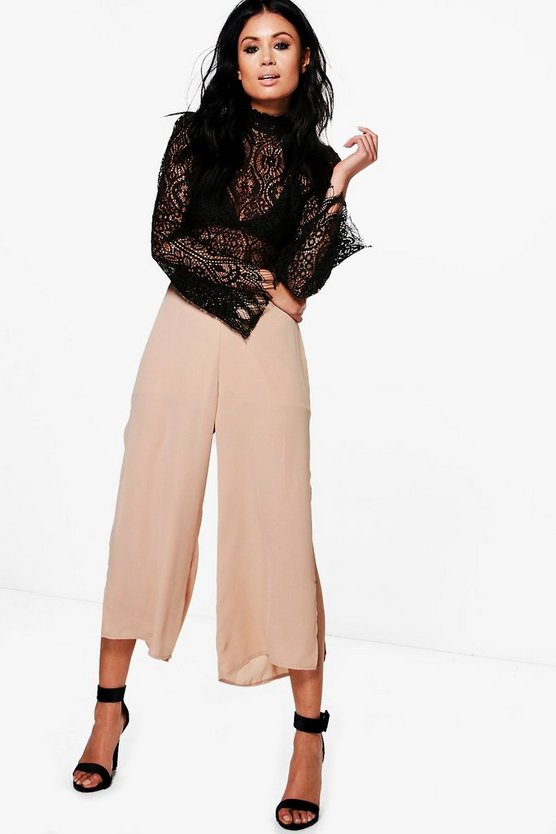 Marin Side Split Chiffon Wide Leg Culottes