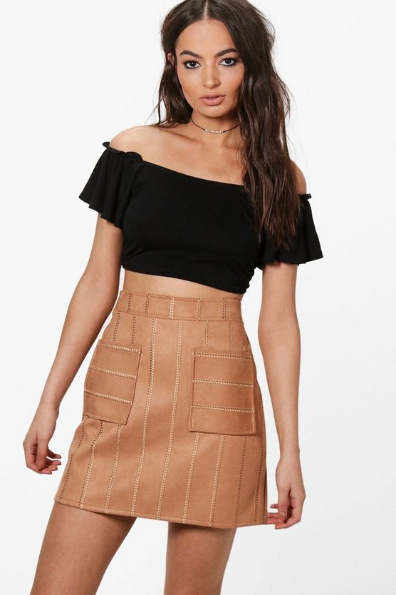 Inara Embroidered Stitch Pocket Front A Line Skirt