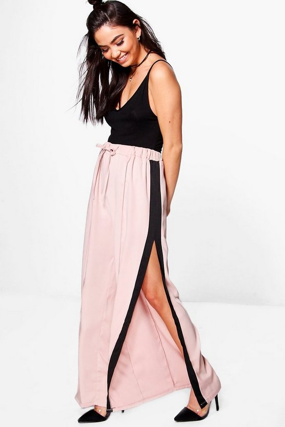 Lacey Premium Contrast Satin Wide Leg Trousers