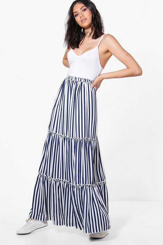 Rayah Striped Ruffle Layered Woven Maxi Skirt
