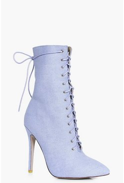 Faye Denim Lace Up Heeled Ankle Boot