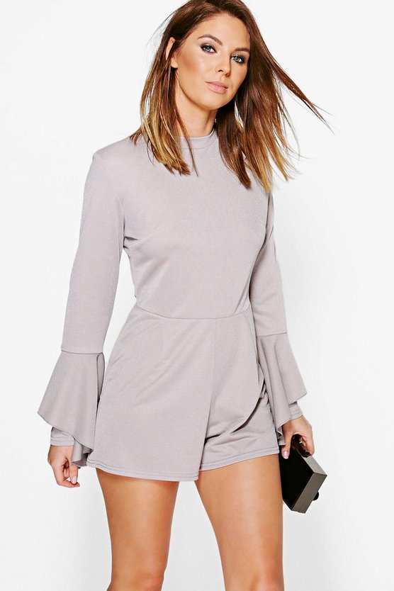 Linda Round Neck Ruffle Sleeve Playsuit