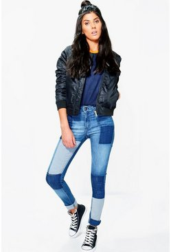 Rosina Mid Rise Patchwork Skinny Jeans