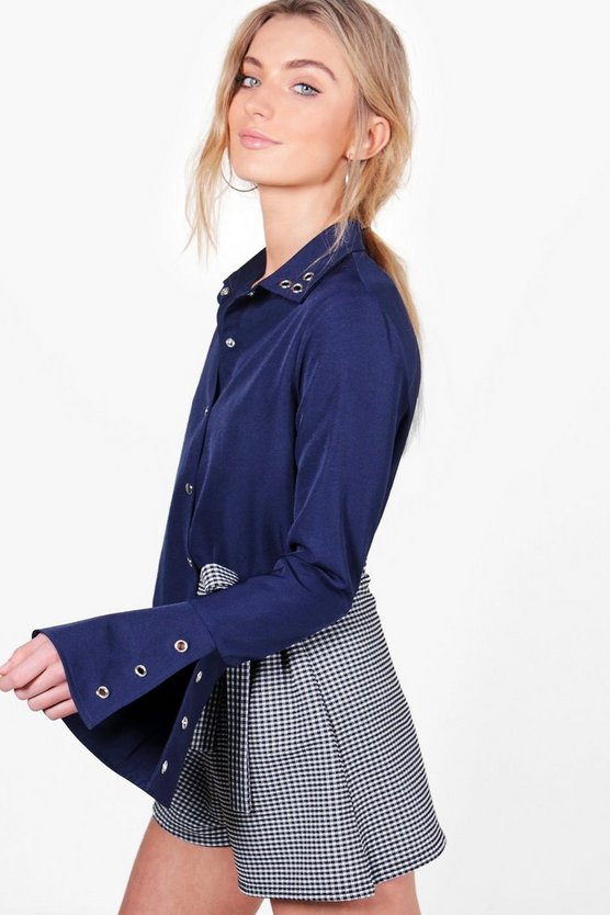 Grace Eyelet Split Cuff Shirt