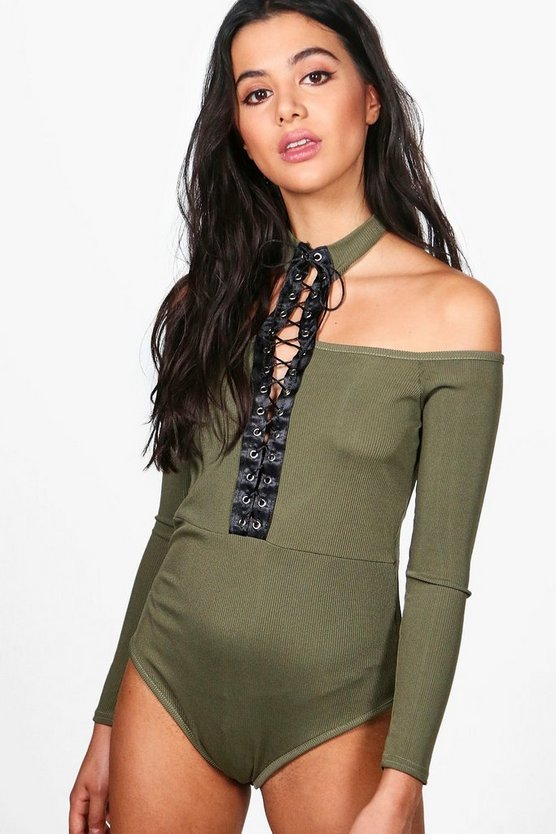 Nora Cold Shoulder Lace Up Choker Bodysuit