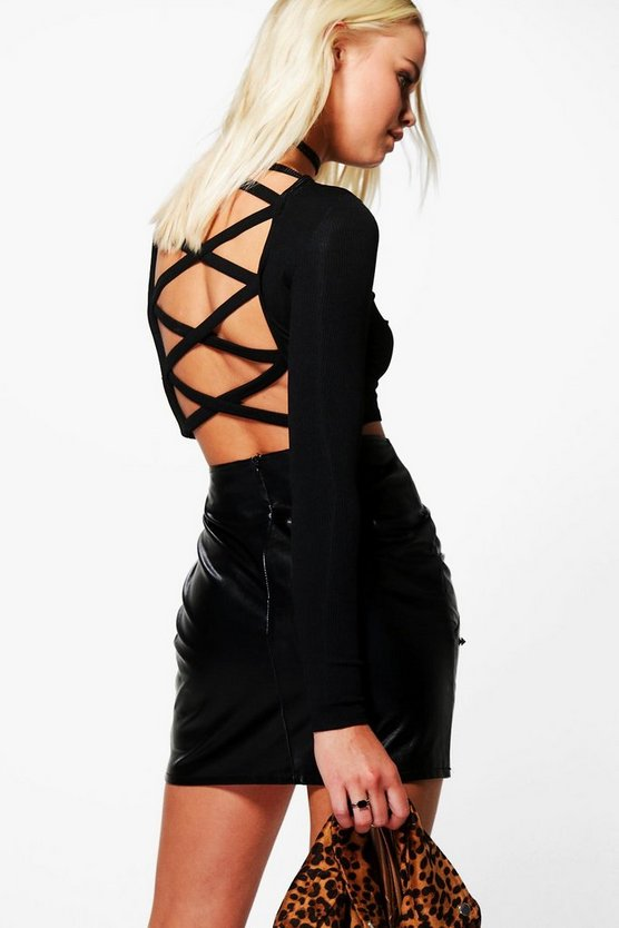 Ellie Lace Up Back Long Sleeve Crop