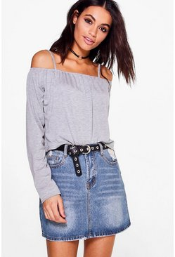 Zoe Basic Cold Shoulder Crop