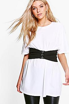 Abigail Belted Oversized Corset Detail T-Shirt