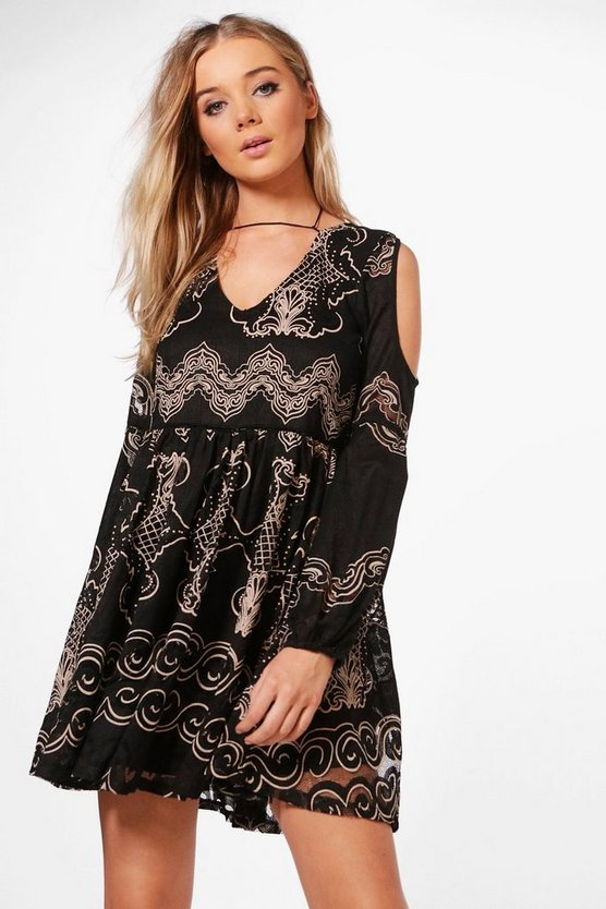 Boutique Niamh Cold Shoulder Burn Out Dress