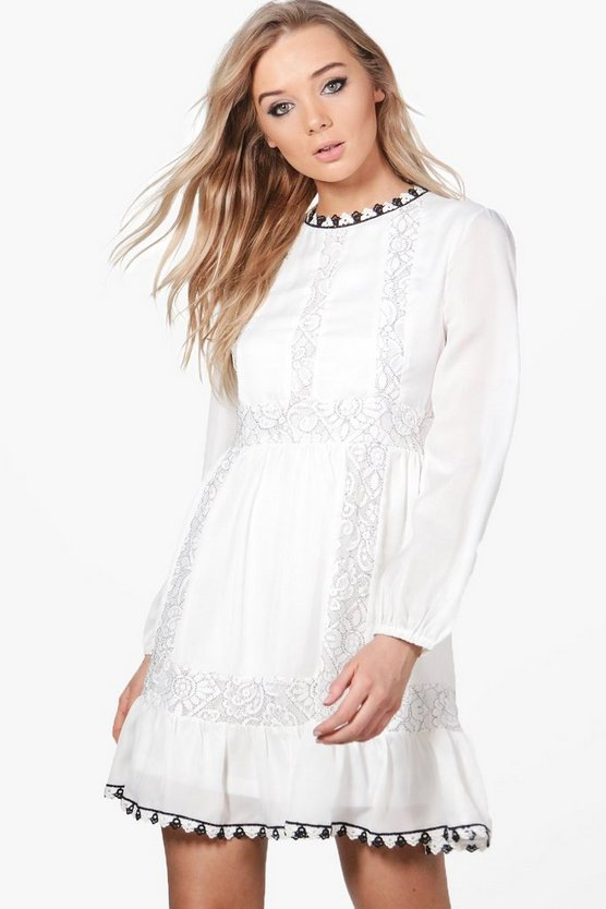 Lace & Crochet Panel Dress